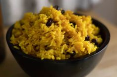 South African Yellow rice in a wooden bowl