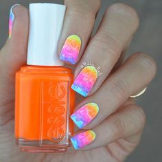 Colors of the rainbow shine so bright! Love this neon look using essie neon collection inspired by the Miami Wynwood Walls.