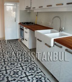 Colorful Encaustic Tiles Nicely Set Off The Cool Marble