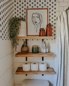 Bathroom Inspiration, Home Decor Inspiration, Decor Ideas, Decorating Ideas, Master Bathroom, Boho Bathroom, Bathroom Inspo, Washroom, Bathroom Shelf Decor