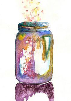 watercolor jar filled w/ colorful dreams & magic & spit