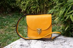 Yellow Leather messenger bag medium by GalenLeather on Etsy, $39.00
