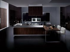 Contemporary Kitchen Design with Black Kitchen Style and Wooden and Chrome Countertops L-Shaped Kitchen Island