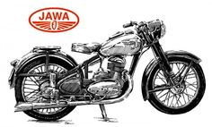 Vintage Motorcycles, Cars And Motorcycles, Jawa 350, Bike Drawing, Classic Bikes, Marine Corps, Vintage Posters, Motorbikes, Drawings