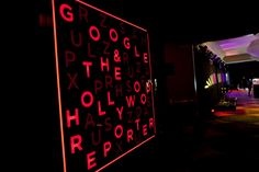 Google and The Hollywood Reporter welcomed guests to Friday night party at the W hotel's Great Room with an alphabet-board sign. Photo: Daniel Schwartz
