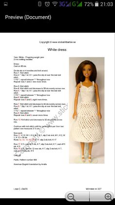 Barbie Knitting Patterns, Knitting Dolls Clothes, Barbie Clothes Patterns, Baby Doll Clothes, Clothing Patterns, Crochet Doll Dress, Doll Outfits, Lace Knitting, Plastic Canvas