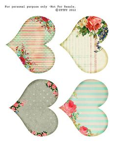 free printable shabby hearts by fptfy