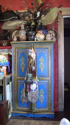 bohemian interior, like the dresser /cabinet