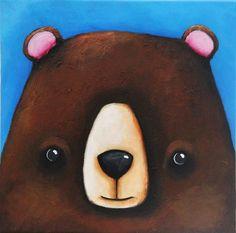 Original Acrylic Canvas Art Whimsical Child Decor Woodlands Black Bear Painting #Modernism