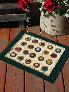 Primitive Wool Penny Rug / Table Topper by scarecrowcabin on Etsy, $50.00