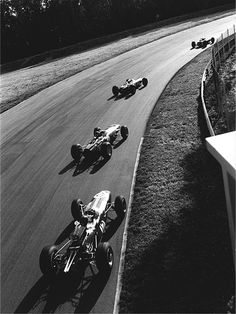 Jim Clark, Jackie Stewart, Graham Hill and Dan Gurney - The Parabolica at Monza 1965