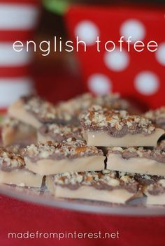 My favorite Christmas candy of all time.  English Toffee.  This recipe is THEE BEST! madefrompinterest.net