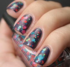 Torrid as Her Glance... contains assorted satin teals contrasted with neon red, purple and green glitters in a clear microglittered base. All nails are 1 coat over 2 coats of Zoya Sailor.