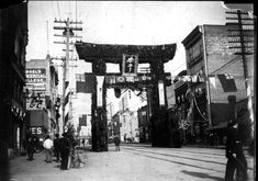 1901 photo of Japanese street arch erected for the visit of the Duke and Duchess of Cornwall and York on Hastings Street west of Cambie.  Vancouver Sun photo files. [PNG Merlin Archive] [PNG Merlin Archive]