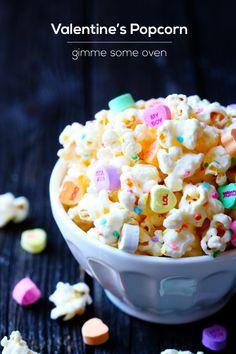 Valentine's Popcorn (White Chocolate Popcorn) | Gimme Some Oven