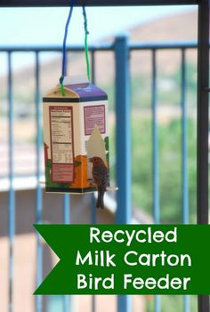 Recycled Milk Carton Bird Feeder