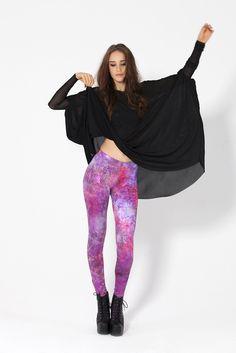 Fairy Paint Purple - LIMITED Leggings by Black Milk Clothing
