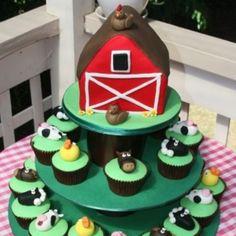 Farm animal cupcakes and barn cake