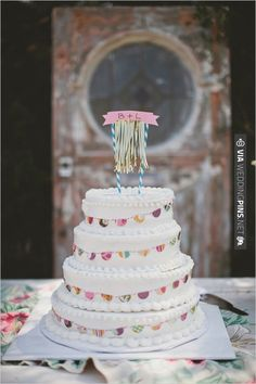 wedding cake with bunting | CHECK OUT MORE IDEAS AT WEDDINGPINS.NET | #weddingcakes
