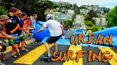 Urban Surfing down streets of San Francisco! - Bear Naked! Watch Devin Super Tramp crew slide down Superior Inflatables  270ft slip n slide down the middle of San Francisco neighborhood.