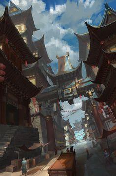 Market by pixel cat on ArtStation. Fantasy Art Landscapes, Fantasy Paintings, Fantasy Landscape, Fantasy Artwork, Landscape Art, Fantasy City, Fantasy Places, Fantasy World, Environment Concept Art