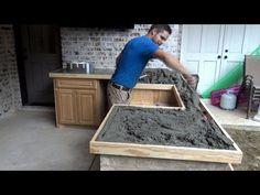 Diy Concrete Countertops, Cement Counter, Concrete Kitchen, Concrete Table, Kitchen Countertops, Outdoor Kitchen Design, Interior Design Kitchen, Kitchen Decor, Concrete Projects