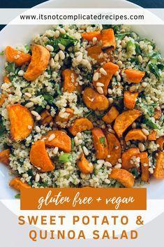 Sweet Potato and Quinoa Salad Sweet Potato and Quinoa Salad – It's Not Complicated Recipes - Delicious Vegan Recipes Qinuoa Recipes, Side Dish Recipes, Cooking Recipes, Healthy Recipes, Drink Recipes, Recipes Dinner, Cooking Ideas, Healthy Side Dishes, Healthy Salads