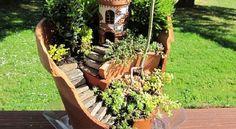 Réutiliser les pots cassés en créant des petits décors. DIY