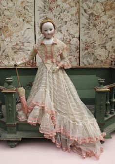 """29"""" Early French Fashion in Original 1860's Ball Gown/ not perfect."""