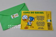 Convite Fuleco, com picote e tudo! 98, World Cup, Personalized Stationery, Madrid, Invitations, Everything, Party, Stuff Stuff