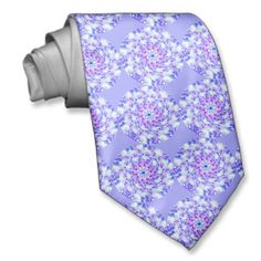 Purple Floral Mandala Neck Wear ~   This necktie features a repeating luminous abstract floral purple, lilac and magenta mandala design. The colors swirl around a central blue star.