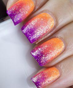 Ombré orange purple nails manicure glittery art