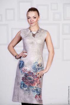 Платье Однажды весной- войлок - валяная одежда,одежда из войлока,одежда из шерсти