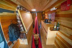 hangmat camper bed in sprinter zelfbouw bestelwagen