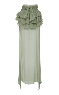 This **Frederick Anderson** Ruffle Trim Maxi Skirt features a wrap tie waistband, layered ruffles, and a sheer bottom. Modest Fashion, Girl Fashion, Fashion Dresses, Fashion Design, Sheer Maxi Skirt, Tie Skirt, Ruffle Skirt, Lehenga Top, Mood Designer Fabrics