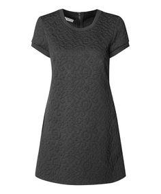 Devoted by Dex Black Floral-Embossed A-Line Dress