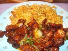 Babi Pangang Spek met paksoi en nasi.