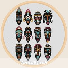 """""""African Masks"""" counted cross-stitch pattern by Anita Stitch. Needlepoint Patterns, Peyote Patterns, Cross Stitch Patterns, Quilt Patterns, Best Book Covers, Egyptian Symbols, African Masks, Plastic Canvas Crafts, Patterns In Nature"""