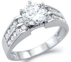 Solid 14k White Gold Solitaire CZ Cubic Zirconia Engagement Wedding Ring Round Cut 2.0 ct Sonia Jewels. $289.00