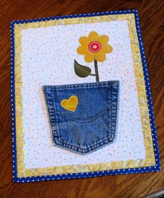 Quilted Denim Flower Pot Table Topper Mug Rug by DollPatchworks