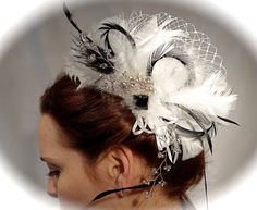 1920's Feather Hairpiece Gatsby Black & White by Marcellefinery, $44.00
