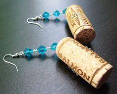 Aquamarine :: Handmade red wine stained wood cork dangle earrings featuring clear Swarovski Elements rhinestones, aqua blue bicone crystals, and luster clear beads.  https://www.etsy.com/listing/212350406/aqua-blue-bicone-crystals-clear?ref=shop_home_active_7