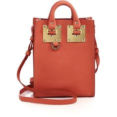 Sophie Hulme Albion Nano Leather Tote (6.815.315 IDR) ❤ liked on Polyvore featuring bags, handbags, tote bags, apparel & accessories, tote handbags, red leather tote bag, red tote bag, leather handbags and red purse