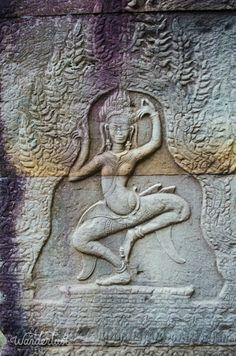 Banteay Kdei temple Dancing yogini bas relief carving. Angkor Wat