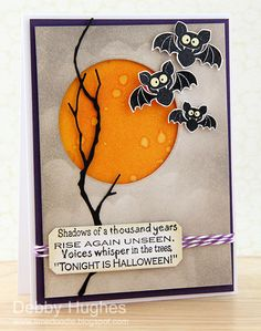 "delightful Halloween card!!! luv the cute  bats, clean design, waterspot watercolored ""moon"" from negative die space and Memory Box die cut branch..."