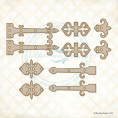 Reneabouquets New Listing~Blue Fern Studios Laser Cut Chipboard Manor Hinges Set Of Ten