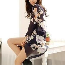 Jolly Club - Open Front Floral Chiffon Shirt