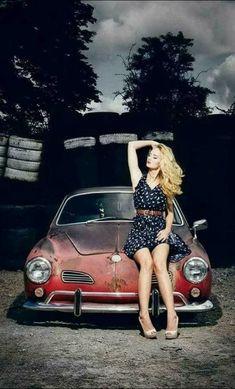 Volkswagen Karmann Ghia, Volkswagen Group, Car Show Girls, Car Girls, Porsche 356, Bus Girl, Porsche Sports Car, Vw Cars, Sexy Cars