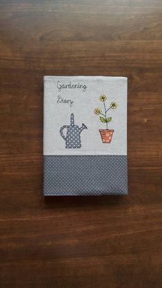 Gardening diary, garden applique fabric cover A5 notebook / journal/diary/planner cover using free motion embroidery, GBP 9.00 by CurlyEmmaEmbroidery on Etsy