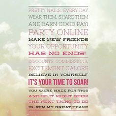 Jamberry is an amazing company. Even if you have only an hour a day, Jamberry can supplementt your income!  Wear them, share them, earn a paycheck every Friday and bonus on the 10th of each month! Contact me:  http://www.beckymills.jamberrynails.net or htt
